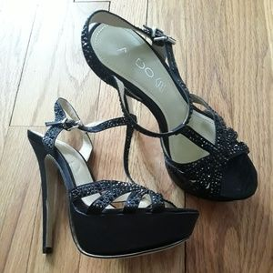 Aldo black rhinestone prom stiletto heels sz 6.5
